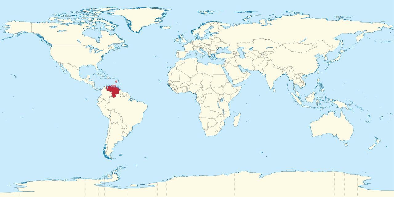 Venezuela Auf Der Weltkarte Anzeigen Venezuela Auf Der Karte Der